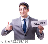 Купить «Businessman asking for salary increase isolated on white backgro», фото № 32788186, снято 29 мая 2017 г. (c) Elnur / Фотобанк Лори
