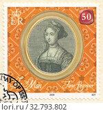 Купить «Джейн Сеймур (Jane Seymour) - королева консорт Англии, третья супруга короля Англии Генриха VIII Тюдора. Почтовая марка Острова Мэн 2009 года», иллюстрация № 32793802 (c) александр афанасьев / Фотобанк Лори