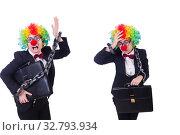 Купить «Businessman clown isolated on white», фото № 32793934, снято 8 мая 2013 г. (c) Elnur / Фотобанк Лори