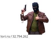 Купить «Robber wearing balaclava isolated on white background», фото № 32794262, снято 17 мая 2019 г. (c) Elnur / Фотобанк Лори