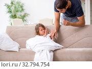 Купить «Father taking care of his ill daughter», фото № 32794754, снято 6 августа 2019 г. (c) Elnur / Фотобанк Лори