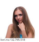 Купить «Beautiful young female model with make up posing isolated on whi», фото № 32795518, снято 14 июня 2017 г. (c) Elnur / Фотобанк Лори