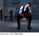 Купить «Young musician man practicing playing violin at home», фото № 32796862, снято 15 августа 2017 г. (c) Elnur / Фотобанк Лори