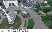 Купить «Flying over VDNH exhibition centre in Moscow, Russia», видеоролик № 32797682, снято 15 июля 2019 г. (c) Данил Руденко / Фотобанк Лори