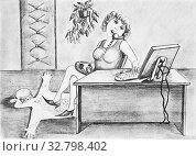 Купить «Girl Secretary talking on the phone. On the floor spread out the skin of the chief», иллюстрация № 32798402 (c) Олег Хархан / Фотобанк Лори