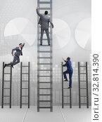 Купить «Competition concept with businessman beating competitors», фото № 32814390, снято 3 июля 2020 г. (c) Elnur / Фотобанк Лори