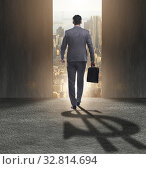 Businessman casting dollar shape shadow in business concept. Стоковое фото, фотограф Elnur / Фотобанк Лори