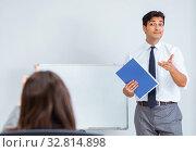 Купить «The business presentation in the office with man and woman», фото № 32814898, снято 7 августа 2017 г. (c) Elnur / Фотобанк Лори