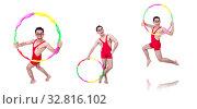 Купить «Funny sportsman with hula hoop on white», фото № 32816102, снято 13 мая 2013 г. (c) Elnur / Фотобанк Лори