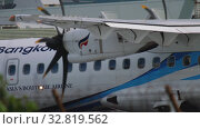 Купить «Turboprop aircraft before departure», видеоролик № 32819562, снято 2 декабря 2018 г. (c) Игорь Жоров / Фотобанк Лори