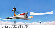 Купить «Giraffe pilot fly plane with advertising banner», фото № 32819794, снято 27 сентября 2015 г. (c) Сергей Новиков / Фотобанк Лори