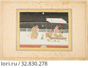 Seduction Scene on a Terrace by Moonlight, 18th century, India, possibly West Bengal, Murshidabad, Murshidabad, Opaque watercolor with gold on paper, Image: 16.8 x 23.5 cm (6 5/8 x 9 1/4 in.) Редакционное фото, фотограф ARTOKOLORO QUINT LOX LIMITED / age Fotostock / Фотобанк Лори