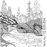 Купить «Landscape with waterfall. Hand drawn patterns for coloring. Freehand sketch drawing for adult antistress coloring book», иллюстрация № 32830854 (c) Олег Хархан / Фотобанк Лори
