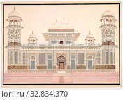 I'timad-ud-Daula's Tomb at Agra, c. 1820, India, Agra, India, Watercolor on paper watermarked J. Whatman with pencil, pen, ink and gold, 51 × 74 cm (21.1 × 29.1 in.) (2019 год). Редакционное фото, фотограф ARTOKOLORO QUINT LOX LIMITED / age Fotostock / Фотобанк Лори
