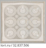 Napkin with the 'Pauw' design, Napkin of linen damask with the 'Pauw' design (design 526). There are nine circles in a smooth frame with rounded corners... Редакционное фото, фотограф ARTOKOLORO QUINT LOX LIMITED / age Fotostock / Фотобанк Лори