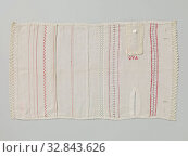 Купить «Seam and piece of linen, Seam and piece of linen and red DMC. The embroidery has the initials GVA, Amsterdam and the text Geertruide van Akkeren., Geertruide...», фото № 32843626, снято 20 февраля 2020 г. (c) age Fotostock / Фотобанк Лори