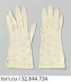 Купить «Glacier leather glove with opening on its side seam, on hand perforations with swinging ornament between cord cut through perforations, Left glazed leather...», фото № 32844734, снято 20 февраля 2020 г. (c) age Fotostock / Фотобанк Лори