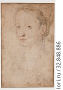 Купить «Attributed to Jean Clouet, French, 1480-1541, Portrait of a Woman, ca. between 1530 and 1572, graphite and color chalk on tan laid paper, Sheet: 8 3/8 × 5 1/4 inches (21.3 × 13.3 cm)», фото № 32848886, снято 27 мая 2020 г. (c) age Fotostock / Фотобанк Лори