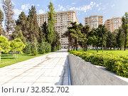 Купить «Path through summer park to modern high-rise buildings», фото № 32852702, снято 24 сентября 2019 г. (c) Евгений Ткачёв / Фотобанк Лори