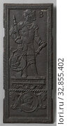 Купить «Heater plate with a harnessed man, Heater plate made of cast iron, divided into two zones. In the upper zone a harnessed man with a sword and scepter....», фото № 32855402, снято 5 июля 2020 г. (c) age Fotostock / Фотобанк Лори