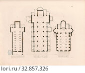 Купить «Plans of Roman churches 1, A: Floor plan of the church of S. Vincenzo alle tre Fontane, B: Floor plan of the church of S. Maria sopra Minerva, C: Floor...», фото № 32857326, снято 20 января 2020 г. (c) age Fotostock / Фотобанк Лори