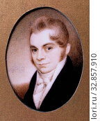 Elkanah Tisdale, American, 1771 - 1835, Portrait of the Artist, between 18th and 19th century, oil on ivory, Overall: 2 7/8 × 2 3/8 inches (7.3 × 6 cm) Редакционное фото, фотограф ARTOKOLORO QUINT LOX LIMITED / age Fotostock / Фотобанк Лори