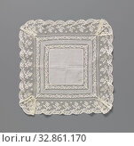 Handkerchief made of bobbin lace with C-shaped twigs. Two entre-deux are sewn around a square batiste cloth and a scalloped lace border with a fond of... Редакционное фото, фотограф ARTOKOLORO QUINT LOX LIMITED / age Fotostock / Фотобанк Лори