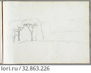 Купить «Thomas Cole, American, 1801-1848, Roman Campagna, 1832, graphite pencil on off-white wove paper, Sheet: 8 3/4 × 12 3/8 inches (22.2 × 31.4 cm)», фото № 32863226, снято 20 января 2020 г. (c) age Fotostock / Фотобанк Лори