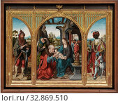 Купить «Joos van der Beke van Cleve, Netherlandish, ca. 1485-between 1540 and 1541, Adoration of the Magi, ca. 1525, Oil on oak panel, Center panel: 35 × 25 1/2 inches (88.9 × 64.8 cm)», фото № 32869510, снято 27 мая 2020 г. (c) age Fotostock / Фотобанк Лори