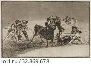 Купить «Francisco Goya, Spanish, 1746-1828, The Moors Use Donkeys as a Barrier to Defend Themselves Against the Bull Whose Horns Have Been Tipped with Wooden Balls...», фото № 32869678, снято 4 августа 2020 г. (c) age Fotostock / Фотобанк Лори