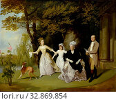 Francis Wheatley, English, 1747-1801, The Wilkinson Family, between 1776 and 1778, oil on canvas, Unframed: 40 1/2 × 50 1/2 inches (102.9 × 128.3 cm) Редакционное фото, фотограф ARTOKOLORO QUINT LOX LIMITED / age Fotostock / Фотобанк Лори
