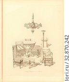 A. Octagon. b. Pompejan room. c. Scott room, Furniture from the summer house in the garden of Buckingham Palace, Taf. 20, 15 after p. 11, Ludwig Gruner... Редакционное фото, фотограф ARTOKOLORO QUINT LOX LIMITED / age Fotostock / Фотобанк Лори