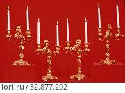 Купить «Justin Aurele Meissonnier, French, 1675-1750, Candelabra, 18th Century, Gilt bronze, Overall: 16 7/8 × 11 1/2 × 8 inches (42.9 × 29.2 × 20.3 cm)», фото № 32877202, снято 3 июля 2020 г. (c) age Fotostock / Фотобанк Лори