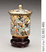 Купить «Presentation cup with hundred poets (w/ lid and stand), 1900-1950, porcelain with enamel and paint, wood stand, A) 7/8 x 2-3/4 (diam.) in., B) 3-1/8 x...», фото № 32883486, снято 24 сентября 2019 г. (c) age Fotostock / Фотобанк Лори