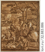 Купить «John Baptist Jackson, English, 1700-1777, after Tintoretto, Italian, 1519-1594, Crucifixion, 1741, chiaroscuro woodcut printed in color ink from five blocks...», фото № 32883886, снято 10 апреля 2020 г. (c) age Fotostock / Фотобанк Лори