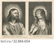 Bust of Christ and Mary, Christ, 'portraits' or Mary, Nicolaes Ryckmans (mentioned on object), 1616 - 1636, paper, engraving, h 179 mm × w 245 mm. Редакционное фото, фотограф ARTOKOLORO QUINT LOX LIMITED / age Fotostock / Фотобанк Лори