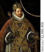 Купить «Matthias, Emperor of the Holy Roman Empire (1557-1619), Portrait of Matthias, German Emperor. Standing half-way, with scepter, imperial crown, and orb...», фото № 32886458, снято 5 июля 2020 г. (c) age Fotostock / Фотобанк Лори