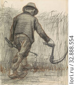 Купить «Corn cutter with hat, seen from behind, reaping, picking, mowing, harvest, agricultural implements: sickle, Vincent van Gogh (signed by artist), 1863 ...», фото № 32888554, снято 30 мая 2020 г. (c) age Fotostock / Фотобанк Лори