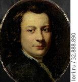 Portrait of George van der Myn, Painter, Portrait of the painter George van der Mijn. Bust in oval, facing., Frans van der Mijn, 1750 - 1763, canvas, oil paint (paint), h 34.5 cm × w 29 cm d 5.5 cm. Редакционное фото, фотограф ARTOKOLORO QUINT LOX LIMITED / age Fotostock / Фотобанк Лори