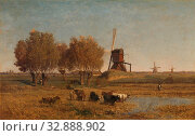 De Winkel near Abcoude, Polder landscape De Winkel near Abcoude. Landscape with three mills, cows grazing in the foreground by a pool of water, on the... Редакционное фото, фотограф ARTOKOLORO QUINT LOX LIMITED / age Fotostock / Фотобанк Лори