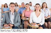 Купить «Young people on training session», фото № 32892970, снято 25 июля 2018 г. (c) Яков Филимонов / Фотобанк Лори