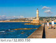 Old harbor of Chania with lighthouse, Crete, Greece (2019 год). Стоковое фото, фотограф photoff / Фотобанк Лори