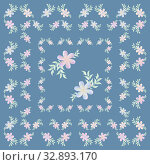 Floral square seamless pattern in pastel colors. Pink flowers with leaves and twigs on a gray blue background for a tablecloth, napkin, scarf, postcard, textile, fabric, bandana, scarf, carpet. Стоковая иллюстрация, иллюстратор Светлана Евграфова / Фотобанк Лори