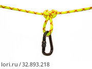 New Black oval touristic and alpinistic carabine hangs from Butterfly loop knot. Stretched colored, green rope for personal belaying. Self-insurance mustache. Isolated on white background. Стоковое фото, фотограф Алексей Ширманов / Фотобанк Лори