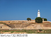 The ancient Odeun and lighthouse on the background. Paphos Archaeological Park. Cyprus (2018 год). Стоковое фото, фотограф Serg Zastavkin / Фотобанк Лори