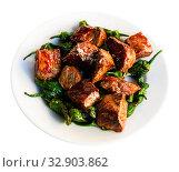Купить «Grilled veal with green peppers», фото № 32903862, снято 6 апреля 2020 г. (c) Яков Филимонов / Фотобанк Лори