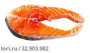 Купить «Raw salmon fillet on wooden table», фото № 32903982, снято 3 июля 2020 г. (c) Яков Филимонов / Фотобанк Лори