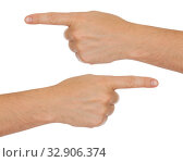 Купить «Male hands and index fingers showing left and right directions», фото № 32906374, снято 21 января 2020 г. (c) Оксана Кузьмина / Фотобанк Лори
