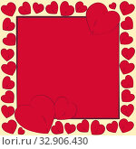 Postcard Valentine's Day. Red bright repeating hearts in a square frame on a beige background for the cover of a congratulation, message, holiday gift. Стоковая иллюстрация, иллюстратор Светлана Евграфова / Фотобанк Лори