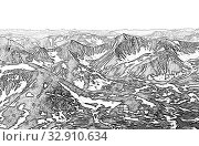 Купить «Northern landscape. The mountains are covered with glaciers. View from helicopter flight altitude», иллюстрация № 32910634 (c) Евгений Ткачёв / Фотобанк Лори